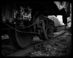 "[_] . Long-disused car and section of track from ""Ann Arbor Railroad System,"" Saline, Michigan. The spur is terminated maybe 50 feet behind where I was positioned when taking this photo; in  ..."